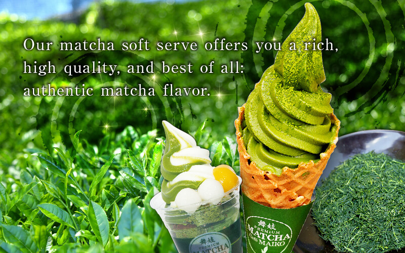 Our matcha soft serve offers you a rich, high quality, and best of all: authentic matcha flavor